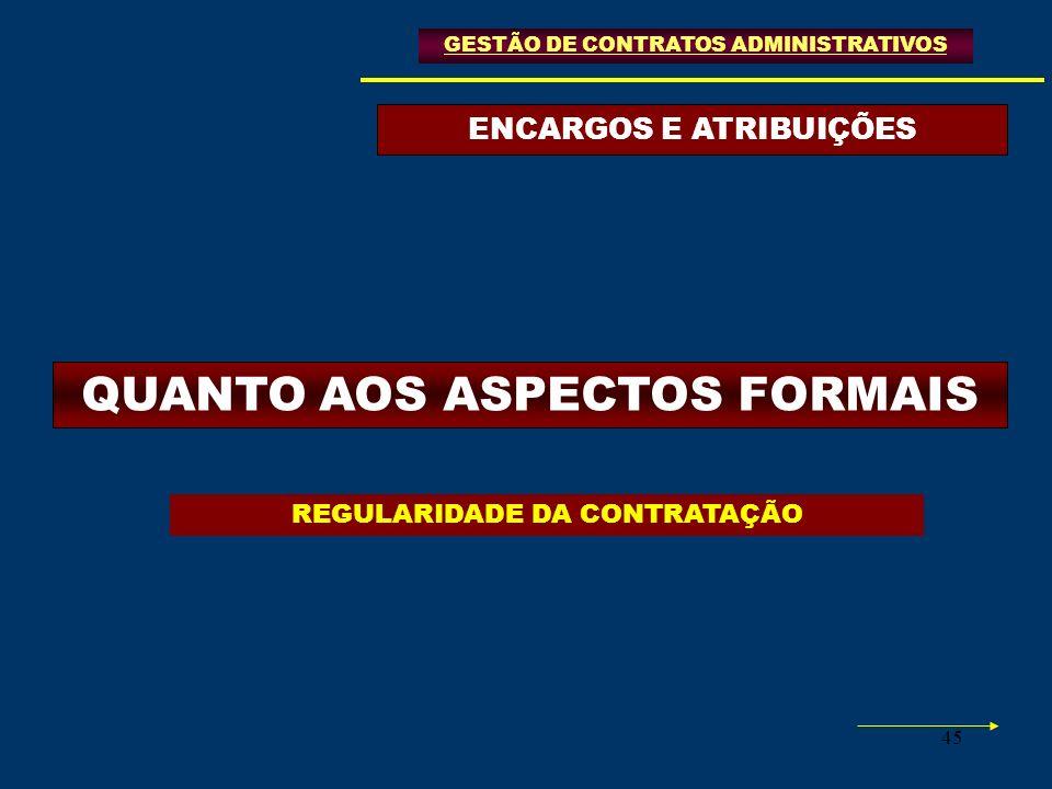 ENCARGOS E ATRIBUIÇÕES QUANTO AOS ASPECTOS FORMAIS