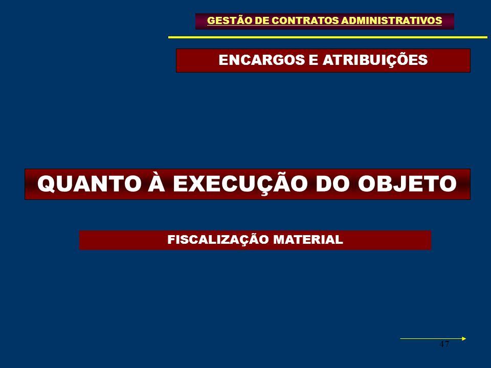 ENCARGOS E ATRIBUIÇÕES QUANTO À EXECUÇÃO DO OBJETO