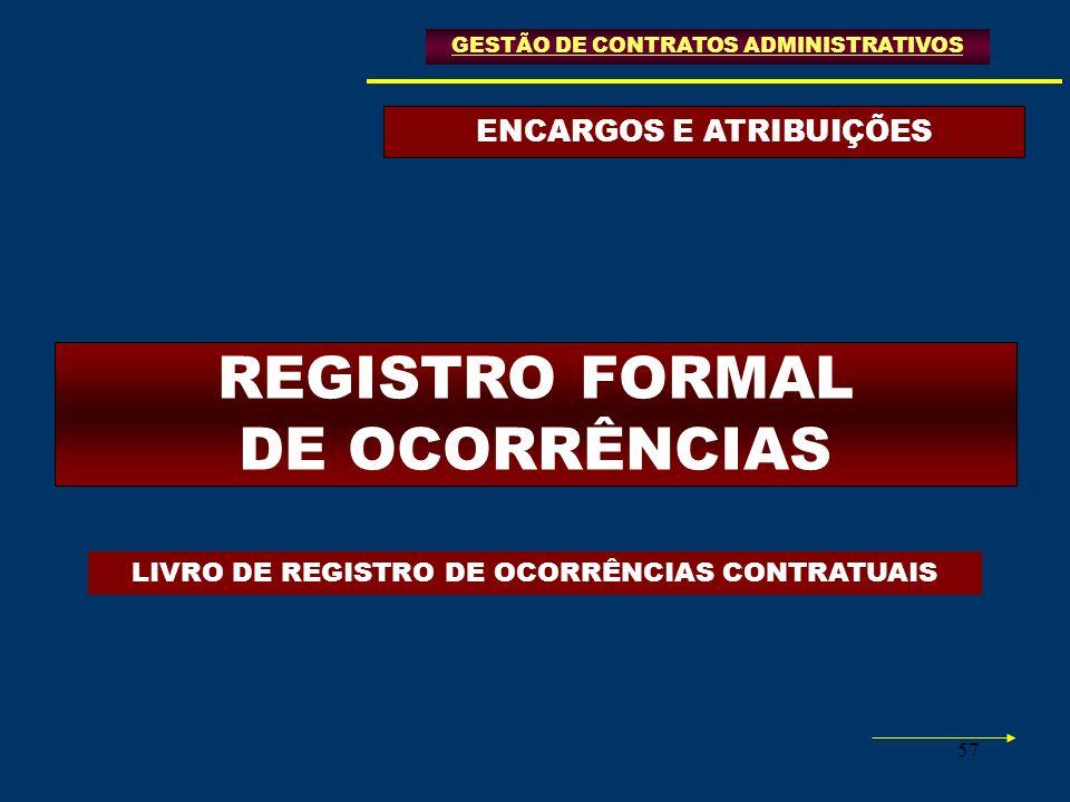 ENCARGOS E ATRIBUIÇÕES REGISTRO FORMAL DE OCORRÊNCIAS