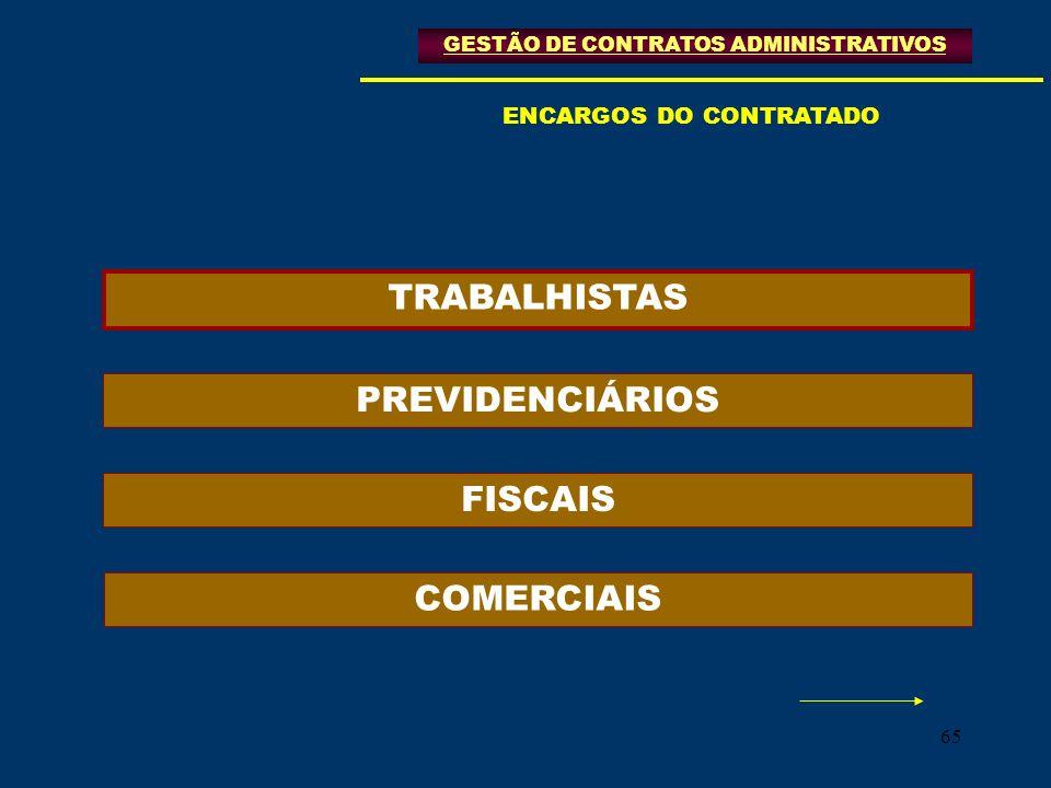 TRABALHISTAS PREVIDENCIÁRIOS FISCAIS COMERCIAIS ENCARGOS DO CONTRATADO
