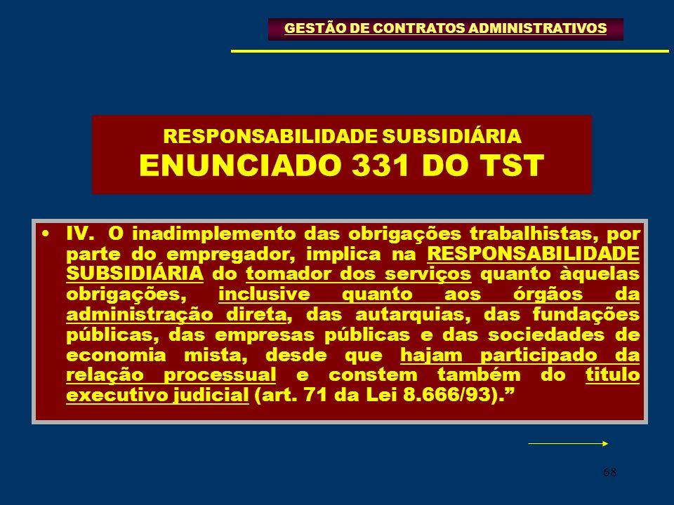 RESPONSABILIDADE SUBSIDIÁRIA ENUNCIADO 331 DO TST