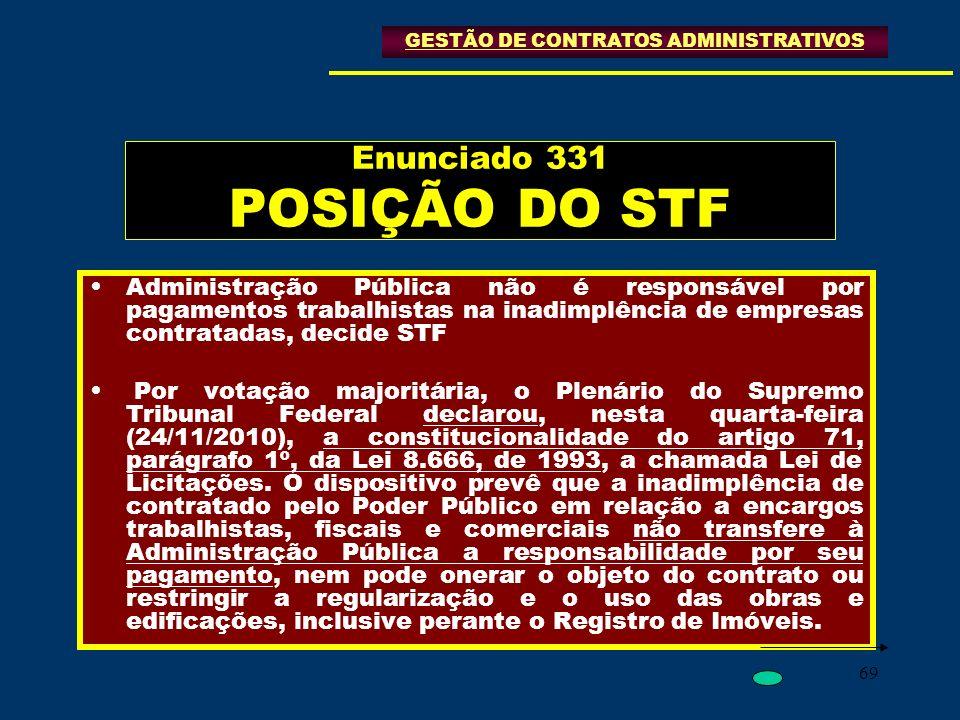 Enunciado 331 POSIÇÃO DO STF