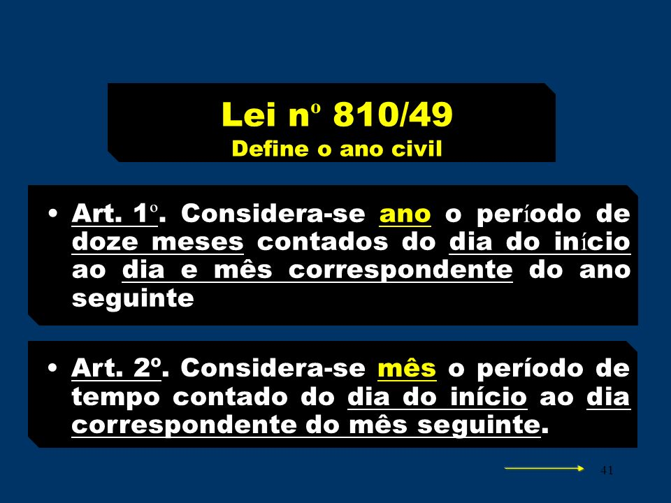 Lei nº 810/49 Define o ano civil