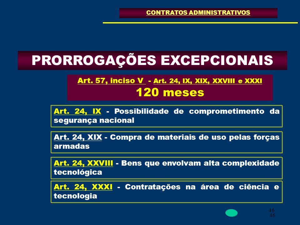 PRORROGAÇÕES EXCEPCIONAIS