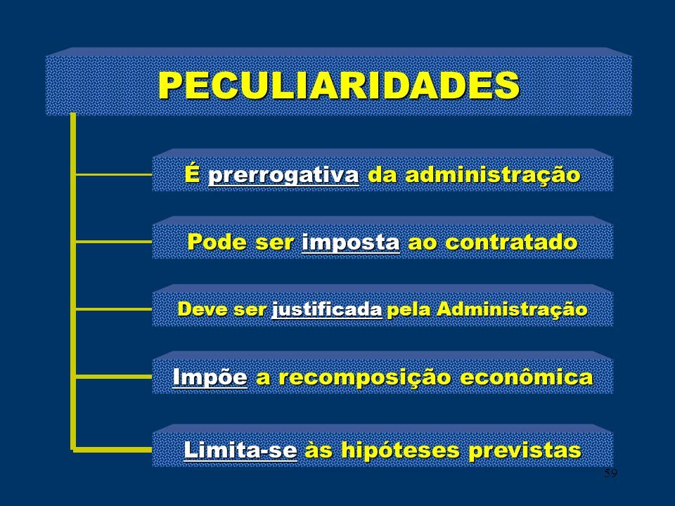 PECULIARIDADES É prerrogativa da administração