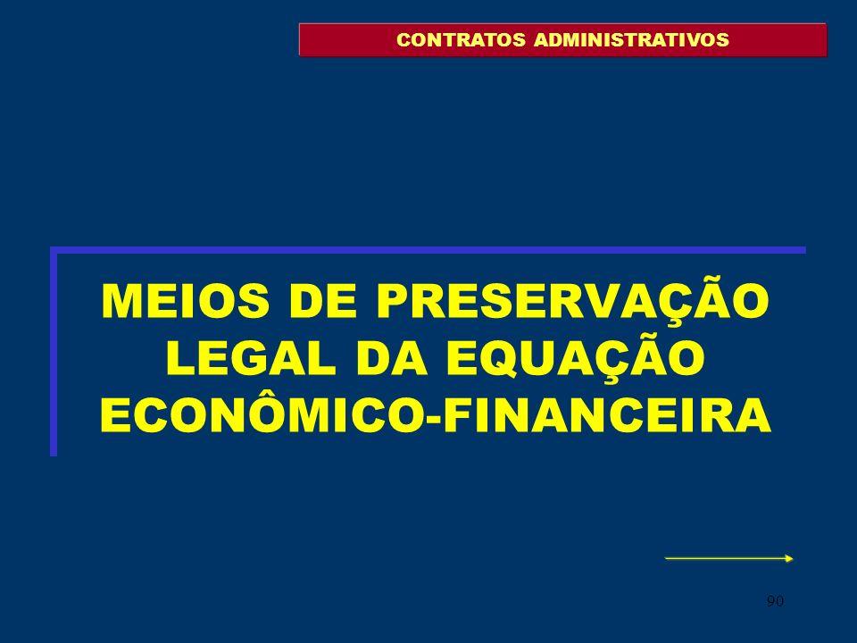 MEIOS DE PRESERVAÇÃO LEGAL DA EQUAÇÃO ECONÔMICO-FINANCEIRA