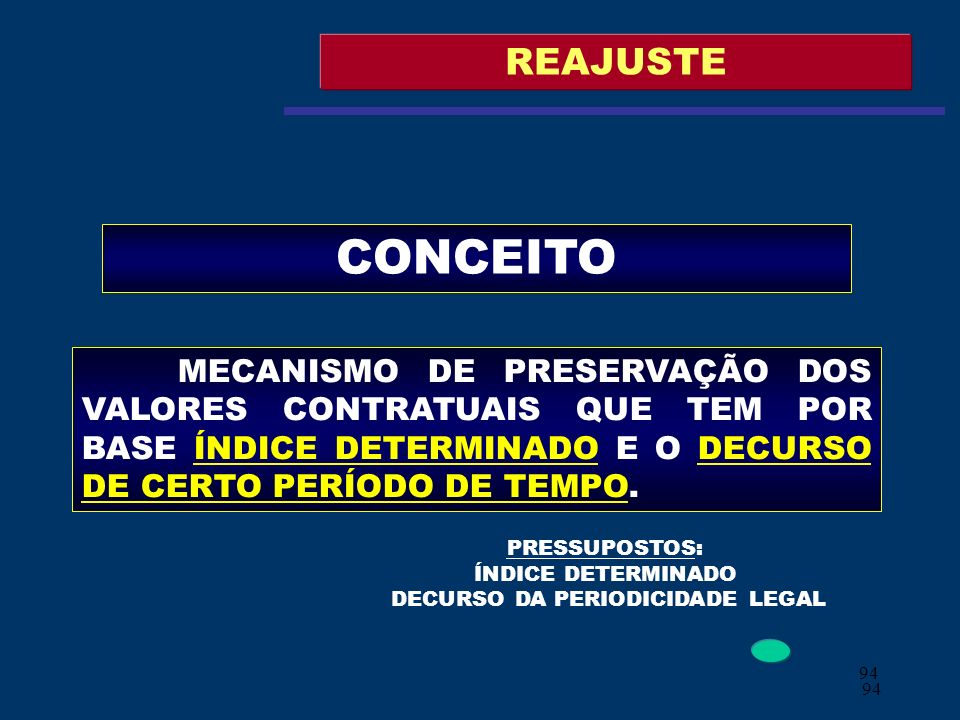 PRESSUPOSTOS: ÍNDICE DETERMINADO DECURSO DA PERIODICIDADE LEGAL