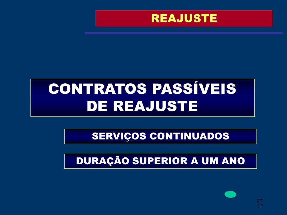 CONTRATOS PASSÍVEIS DE REAJUSTE