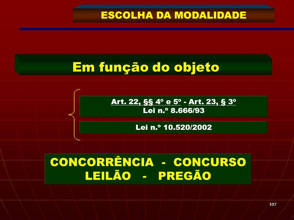 Em função do objeto CONCORRÊNCIA - CONCURSO LEILÃO - PREGÃO