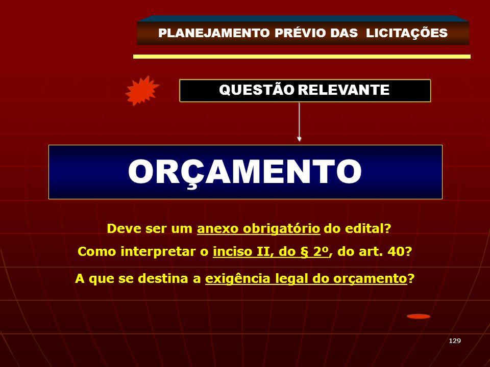 ORÇAMENTO QUESTÃO RELEVANTE PLANEJAMENTO PRÉVIO DAS LICITAÇÕES