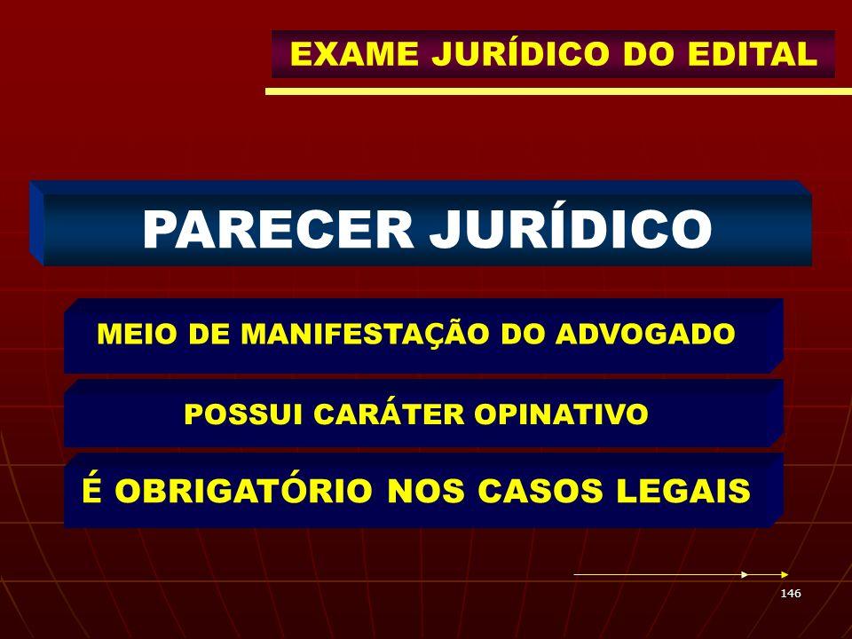 PARECER JURÍDICO EXAME JURÍDICO DO EDITAL