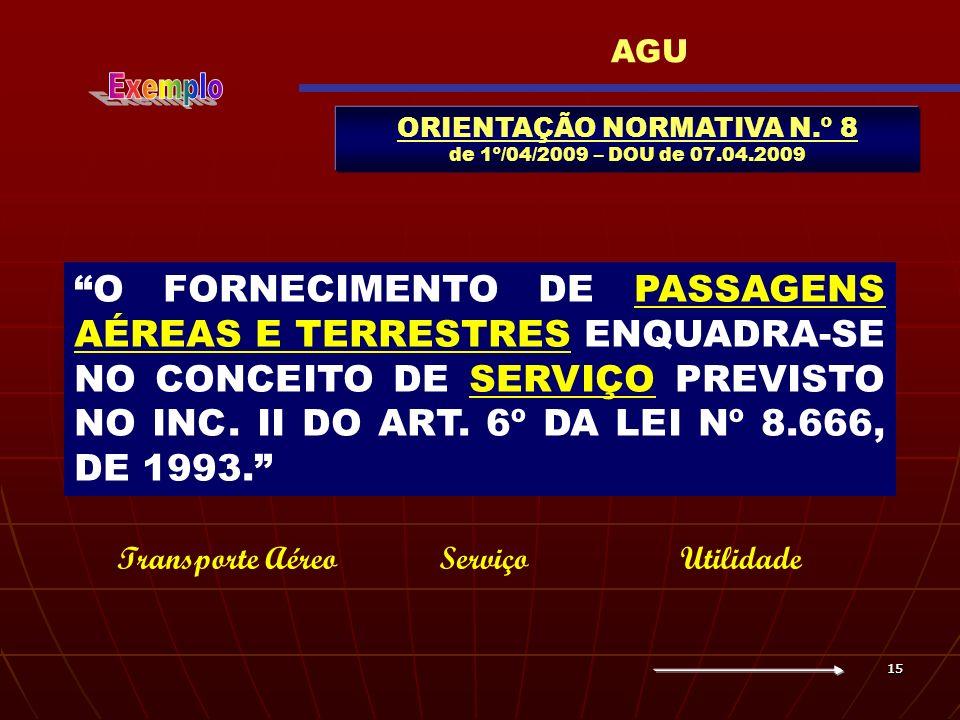ORIENTAÇÃO NORMATIVA N.º 8 de 1º/04/2009 – DOU de 07.04.2009