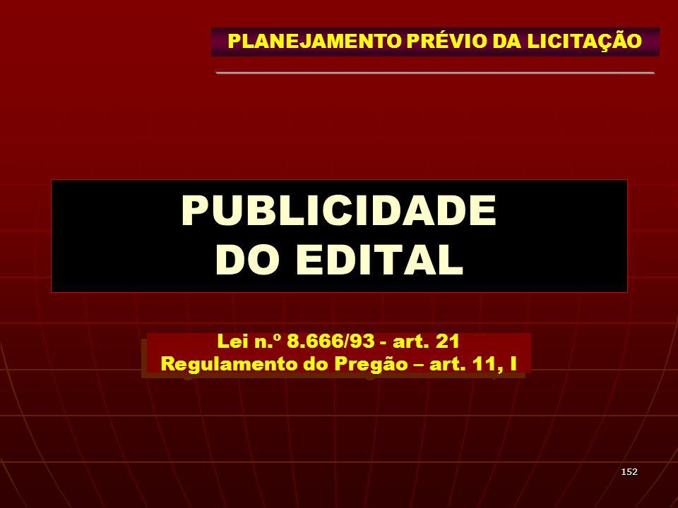 PUBLICIDADE DO EDITAL PLANEJAMENTO PRÉVIO DA LICITAÇÃO