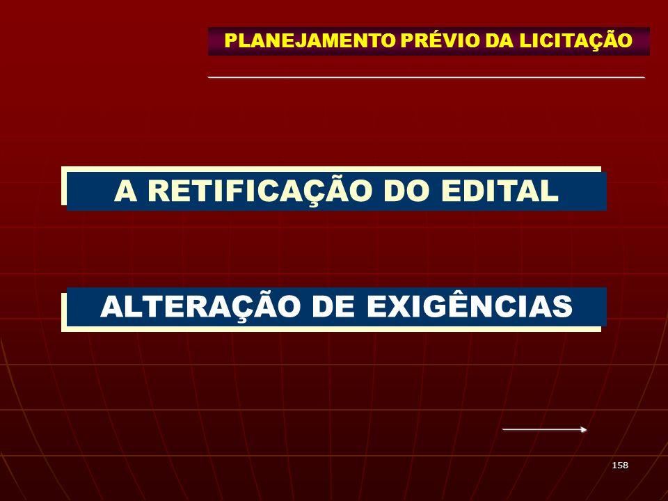 A RETIFICAÇÃO DO EDITAL ALTERAÇÃO DE EXIGÊNCIAS