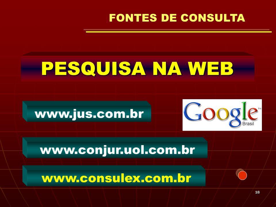 FONTES DE CONSULTA PESQUISA NA WEB www.jus.com.br www.conjur.uol.com.br www.consulex.com.br 18