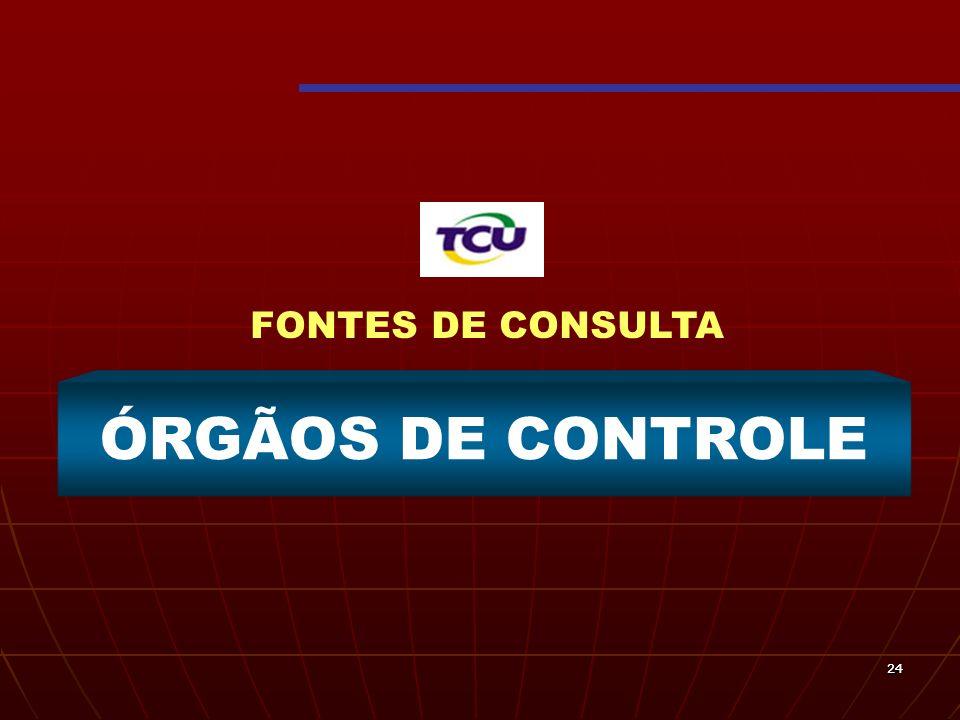FONTES DE CONSULTA ÓRGÃOS DE CONTROLE 24