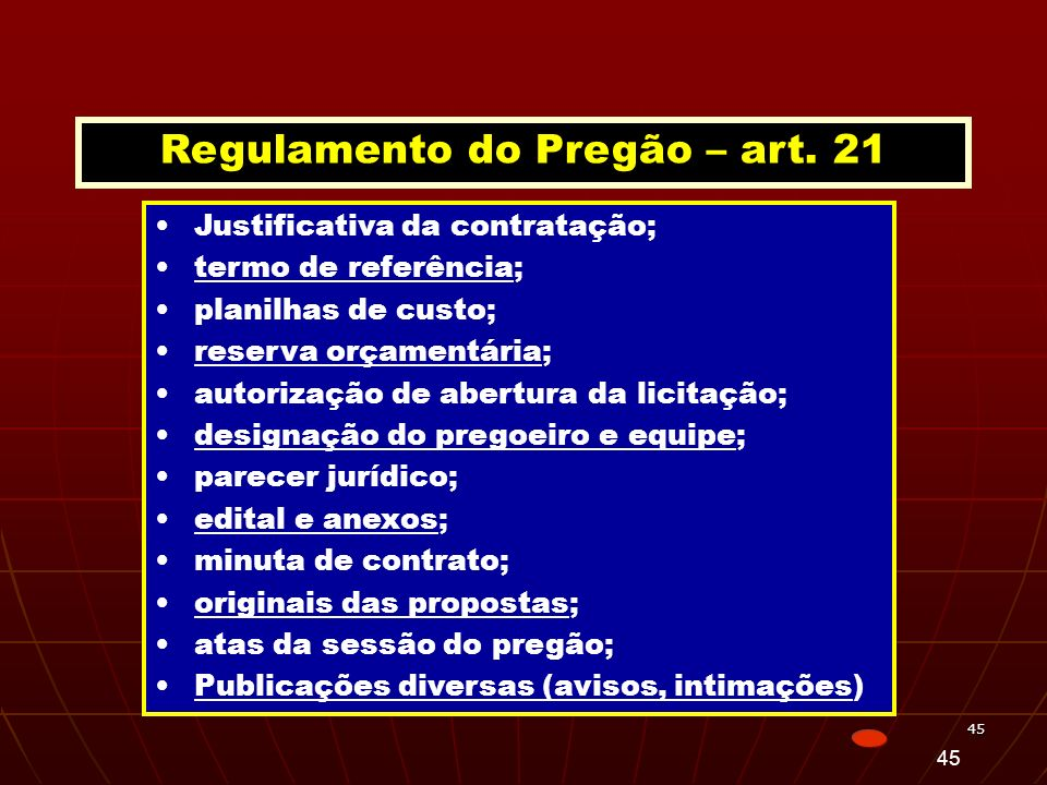 Regulamento do Pregão – art. 21