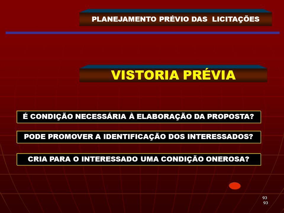 VISTORIA PRÉVIA PLANEJAMENTO PRÉVIO DAS LICITAÇÕES