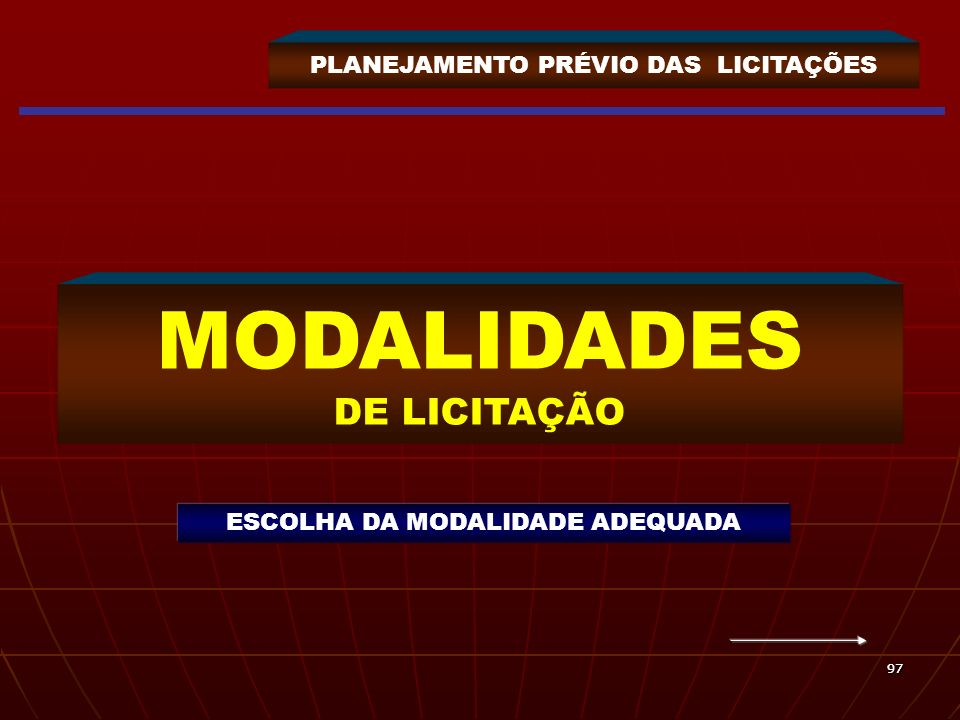 PLANEJAMENTO PRÉVIO DAS LICITAÇÕES MODALIDADES DE LICITAÇÃO