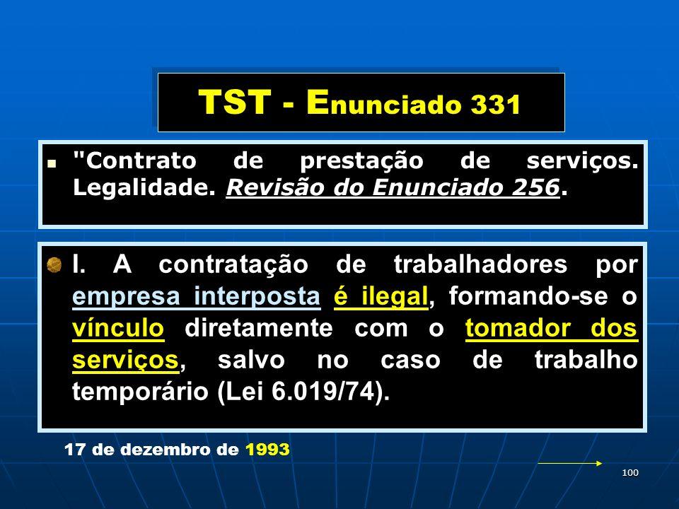 TST - Enunciado 331 Contrato de prestação de serviços. Legalidade. Revisão do Enunciado 256.