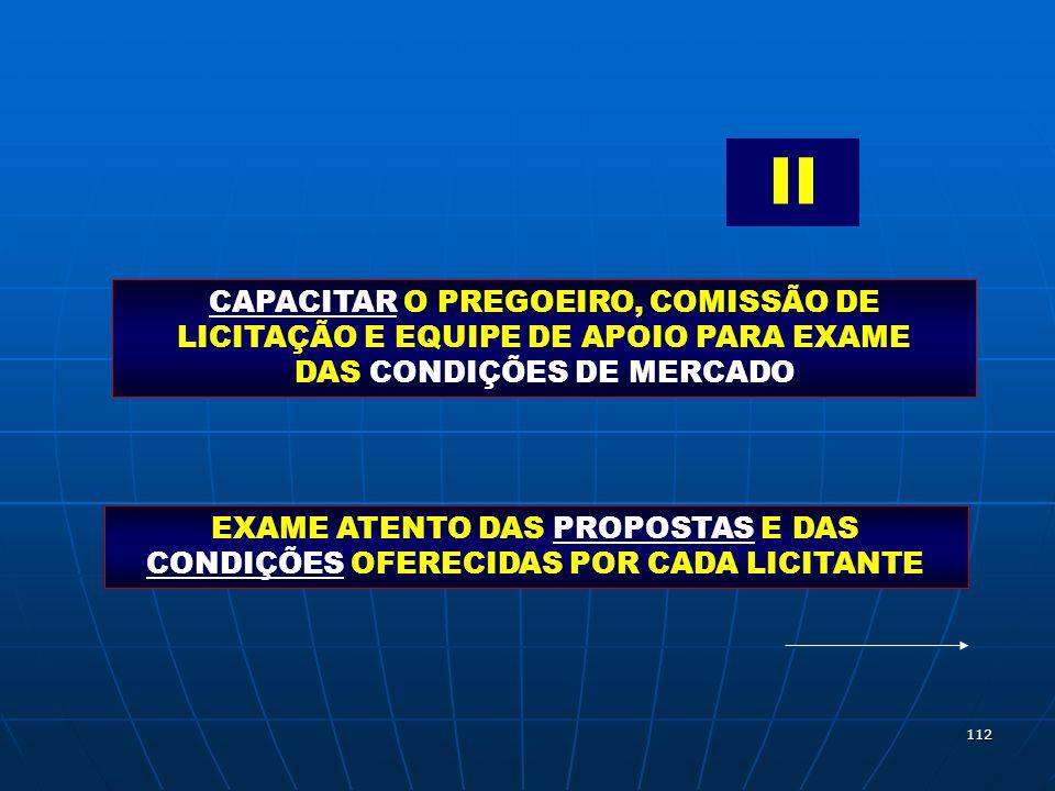 II CAPACITAR O PREGOEIRO, COMISSÃO DE LICITAÇÃO E EQUIPE DE APOIO PARA EXAME DAS CONDIÇÕES DE MERCADO.