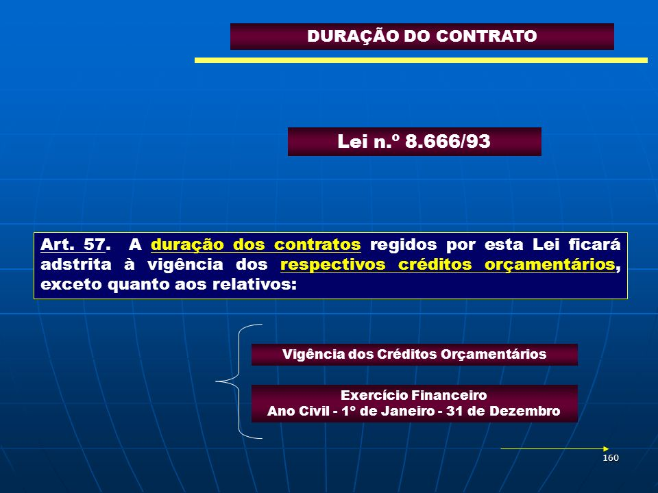 Lei n.º 8.666/93 DURAÇÃO DO CONTRATO