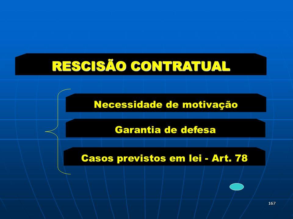 RESCISÃO CONTRATUAL Necessidade de motivação Garantia de defesa