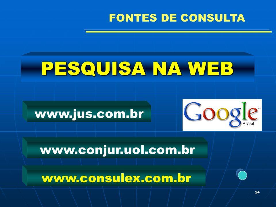 FONTES DE CONSULTA PESQUISA NA WEB www.jus.com.br www.conjur.uol.com.br www.consulex.com.br