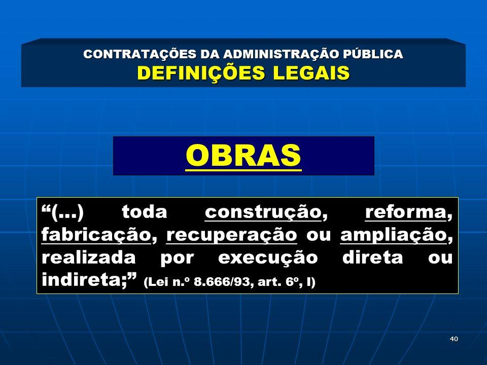 CONTRATAÇÕES DA ADMINISTRAÇÃO PÚBLICA DEFINIÇÕES LEGAIS