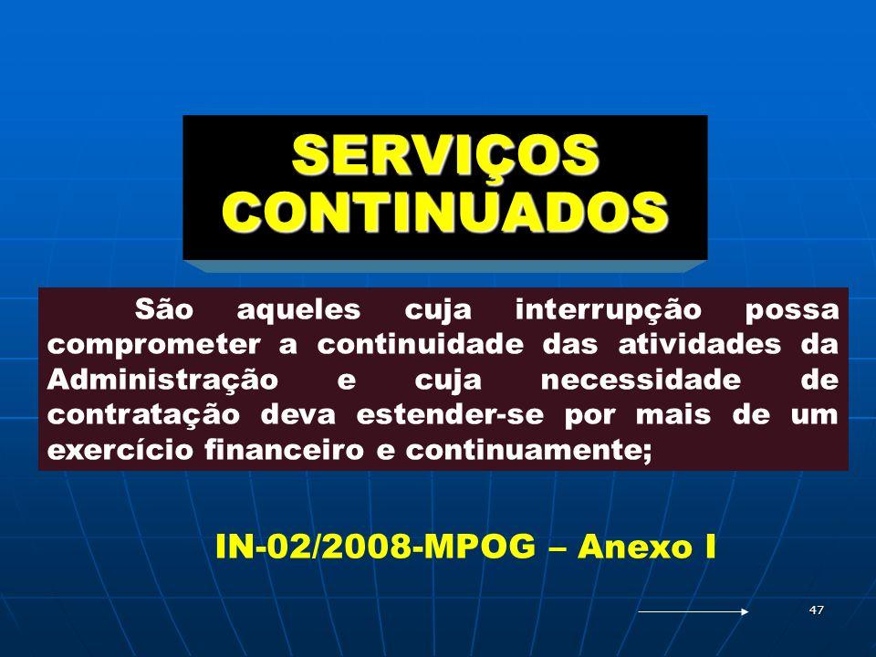 SERVIÇOS CONTINUADOS IN-02/2008-MPOG – Anexo I