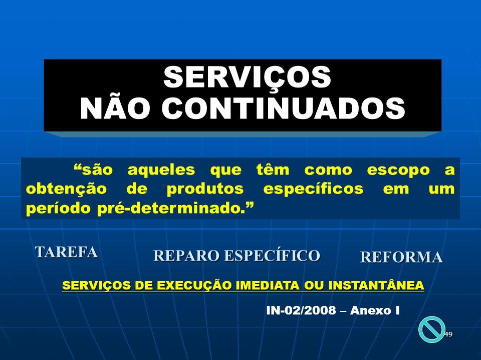 SERVIÇOS NÃO CONTINUADOS SERVIÇOS DE EXECUÇÃO IMEDIATA OU INSTANTÂNEA