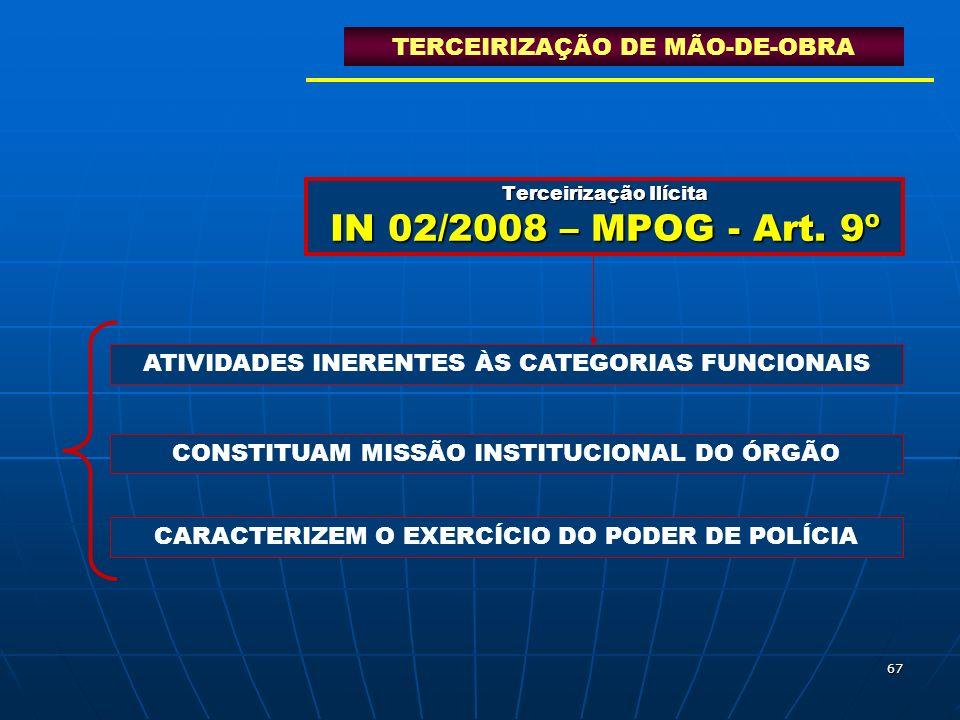 Terceirização Ilícita IN 02/2008 – MPOG - Art. 9º