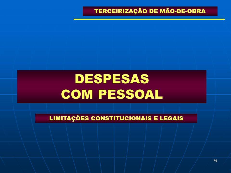 DESPESAS COM PESSOAL TERCEIRIZAÇÃO DE MÃO-DE-OBRA