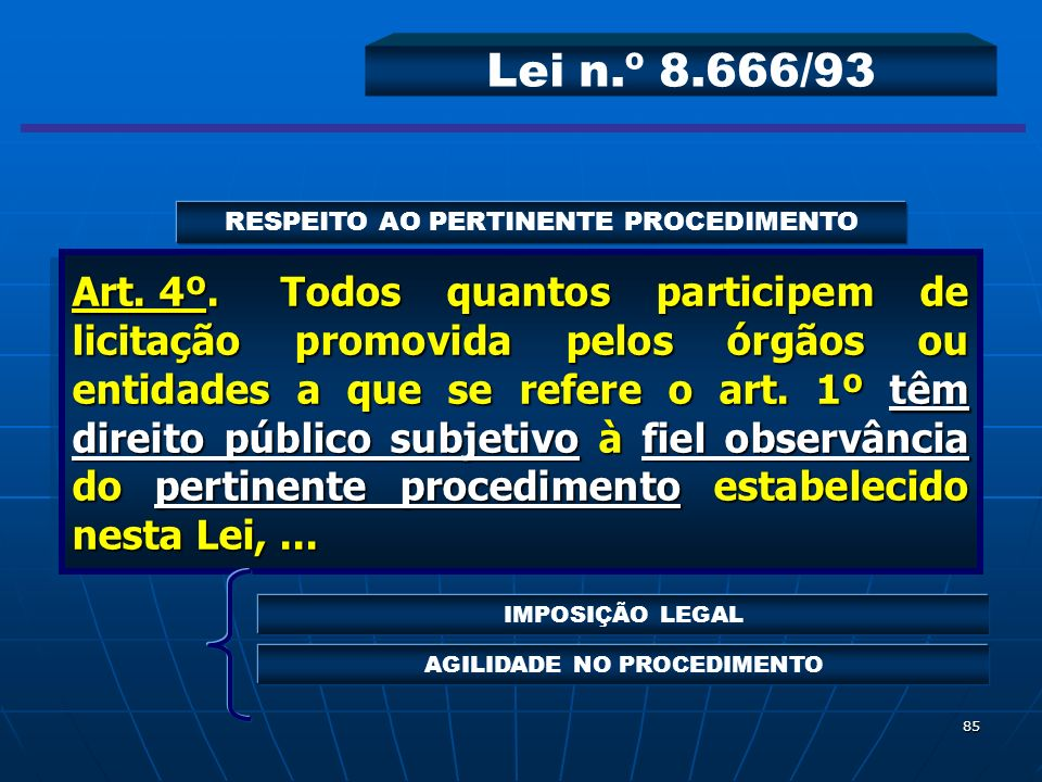 Lei n.º 8.666/93 RESPEITO AO PERTINENTE PROCEDIMENTO.