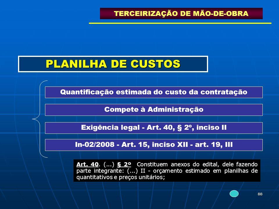 PLANILHA DE CUSTOS TERCEIRIZAÇÃO DE MÃO-DE-OBRA