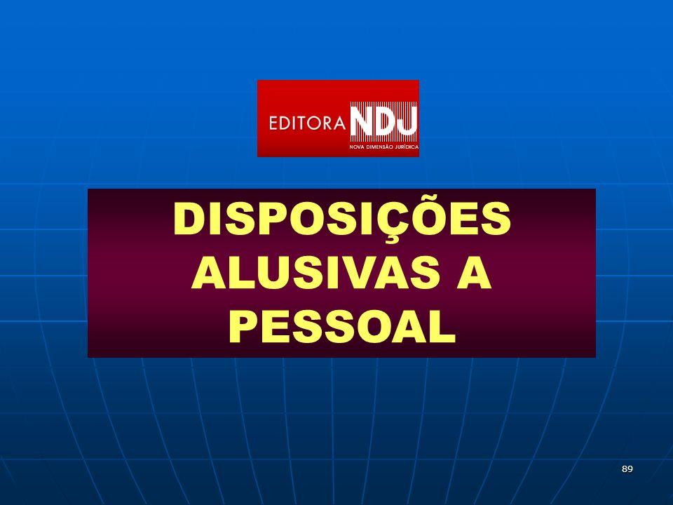 DISPOSIÇÕES ALUSIVAS A PESSOAL