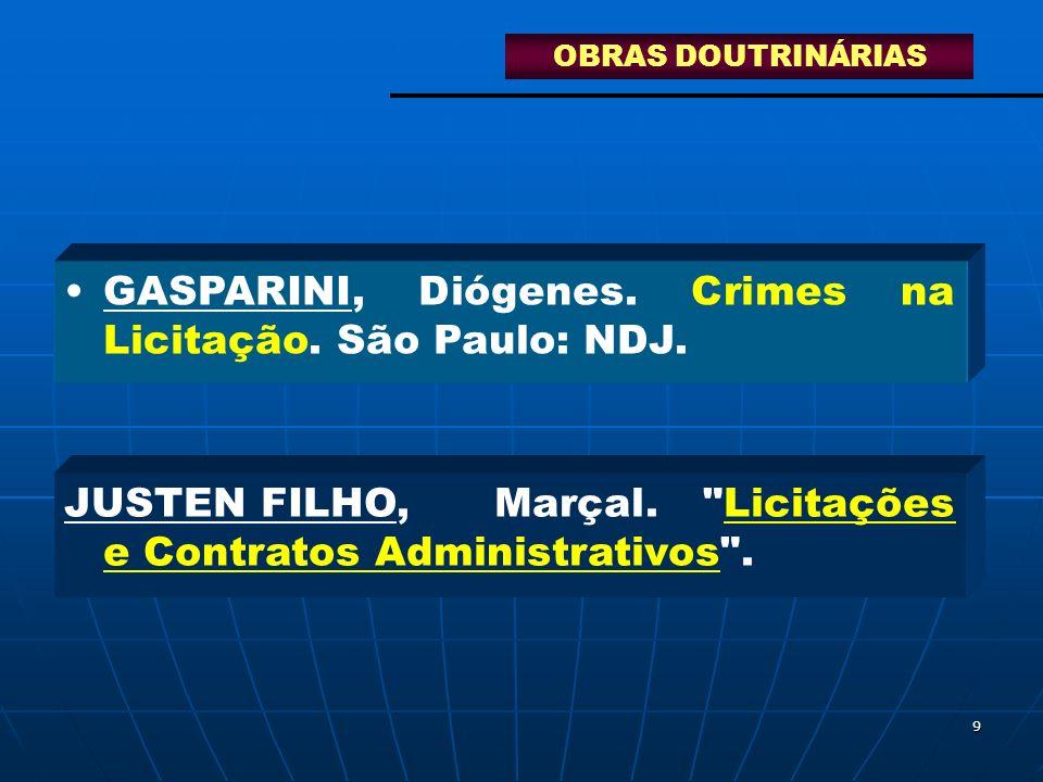 GASPARINI, Diógenes. Crimes na Licitação. São Paulo: NDJ.