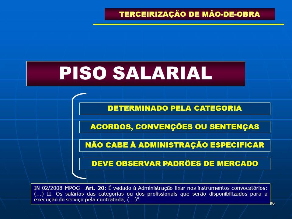PISO SALARIAL TERCEIRIZAÇÃO DE MÃO-DE-OBRA DETERMINADO PELA CATEGORIA