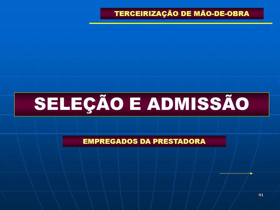 SELEÇÃO E ADMISSÃO TERCEIRIZAÇÃO DE MÃO-DE-OBRA
