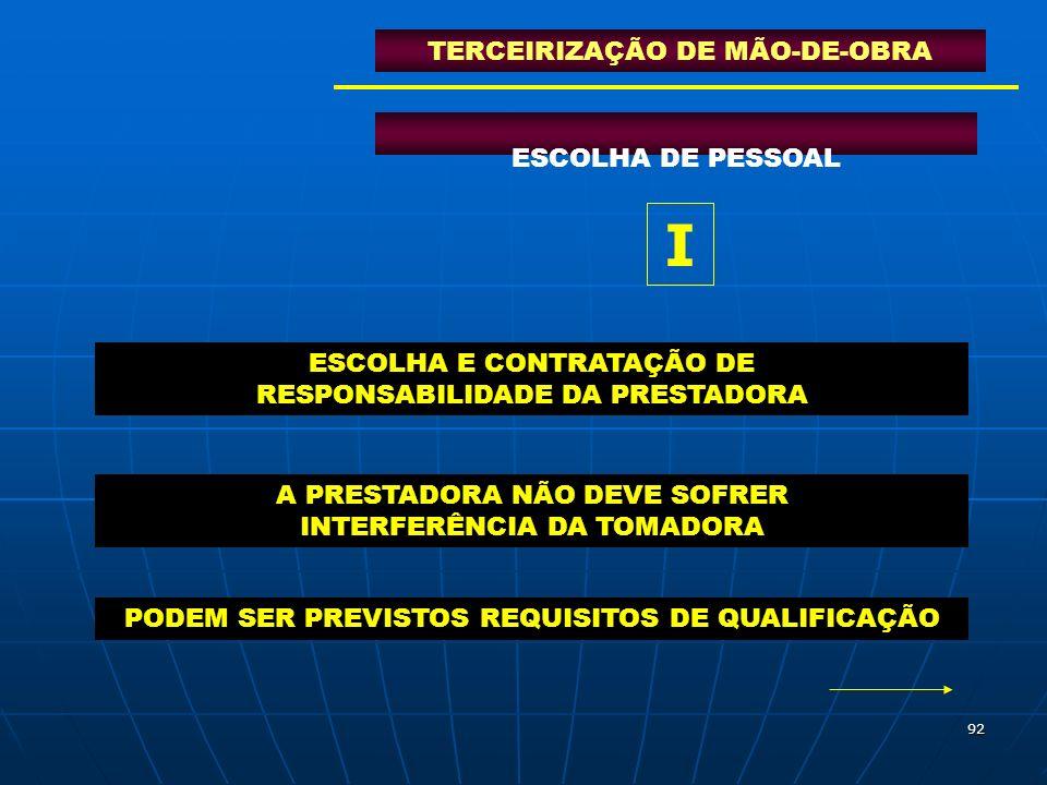 I TERCEIRIZAÇÃO DE MÃO-DE-OBRA ESCOLHA DE PESSOAL