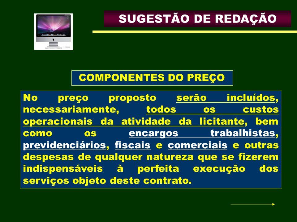 SUGESTÃO DE REDAÇÃO COMPONENTES DO PREÇO