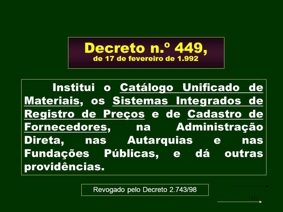 Decreto n.º 449, de 17 de fevereiro de 1.992