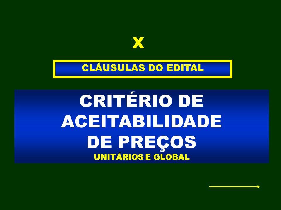 CRITÉRIO DE ACEITABILIDADE DE PREÇOS UNITÁRIOS E GLOBAL