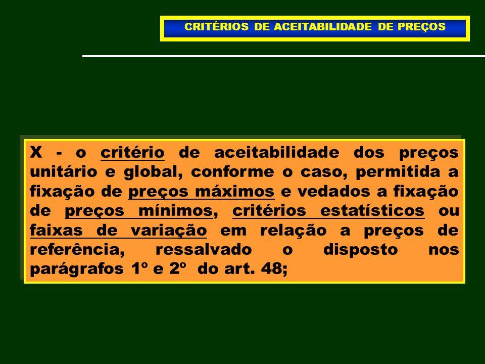 CRITÉRIOS DE ACEITABILIDADE DE PREÇOS