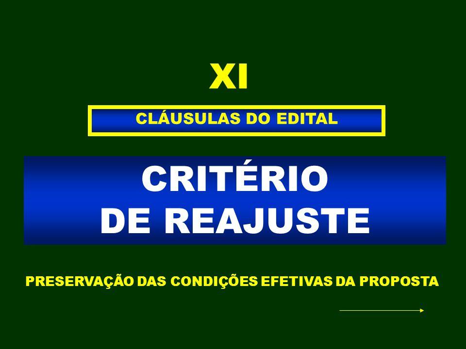 XI CRITÉRIO DE REAJUSTE CLÁUSULAS DO EDITAL