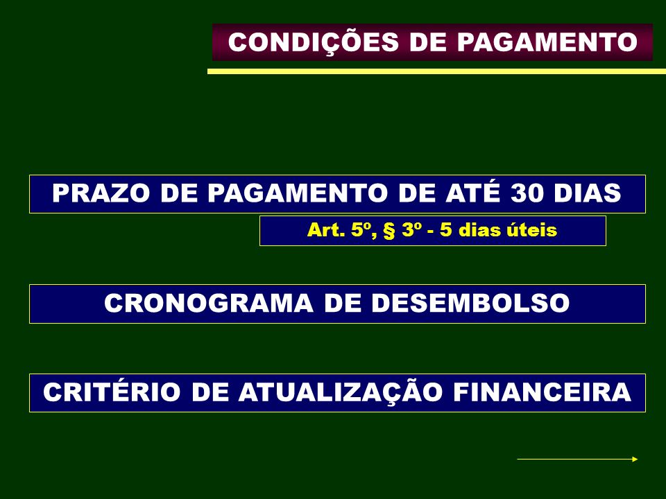 CONDIÇÕES DE PAGAMENTO