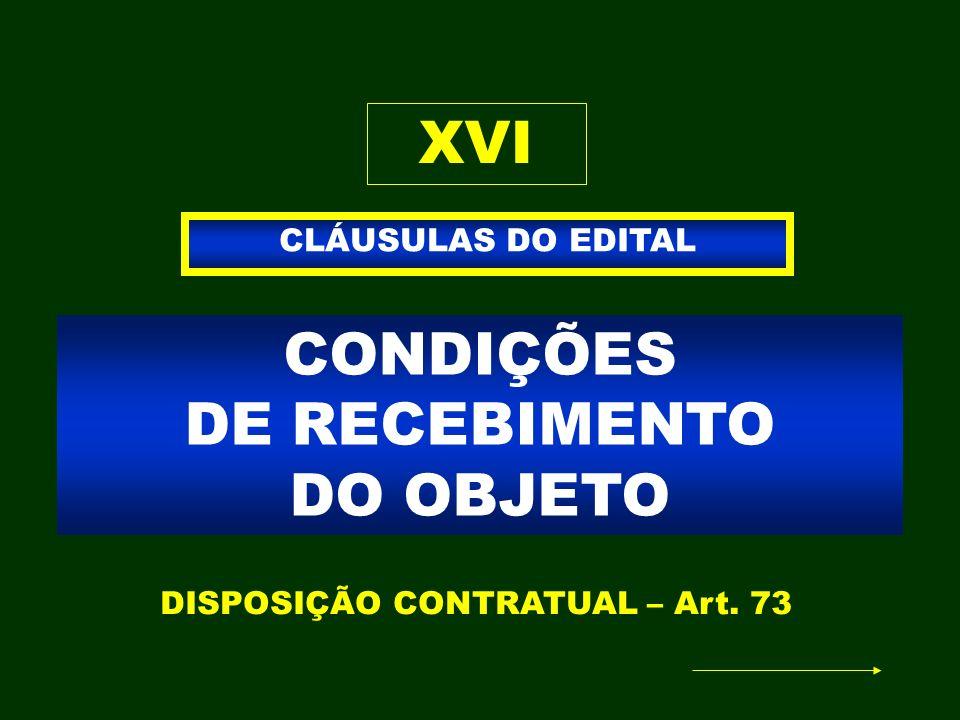 CONDIÇÕES DE RECEBIMENTO DO OBJETO