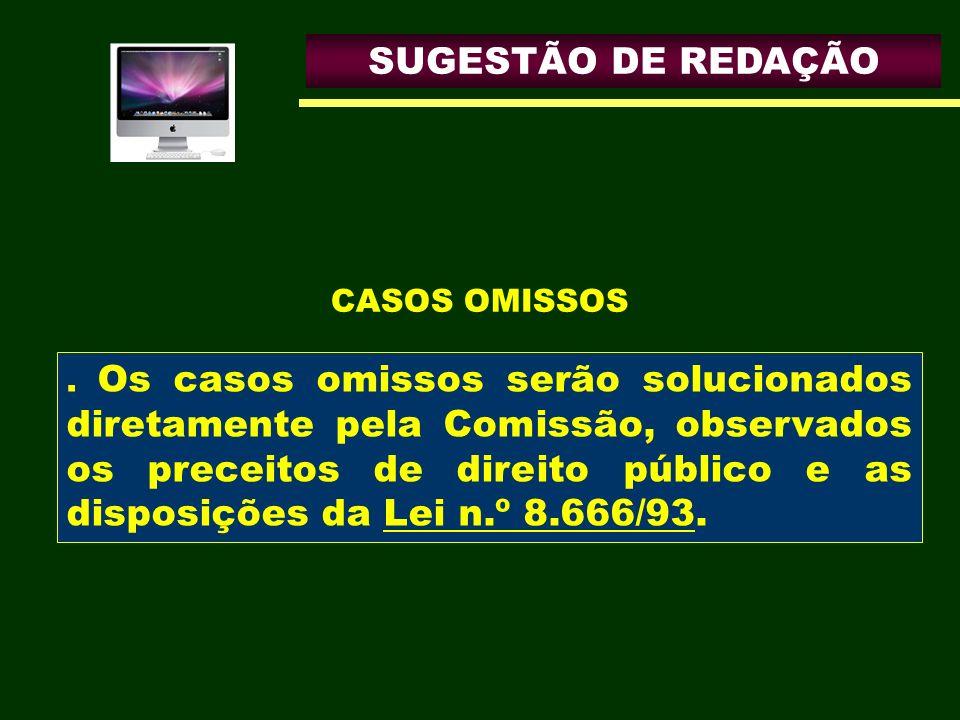 SUGESTÃO DE REDAÇÃO CASOS OMISSOS