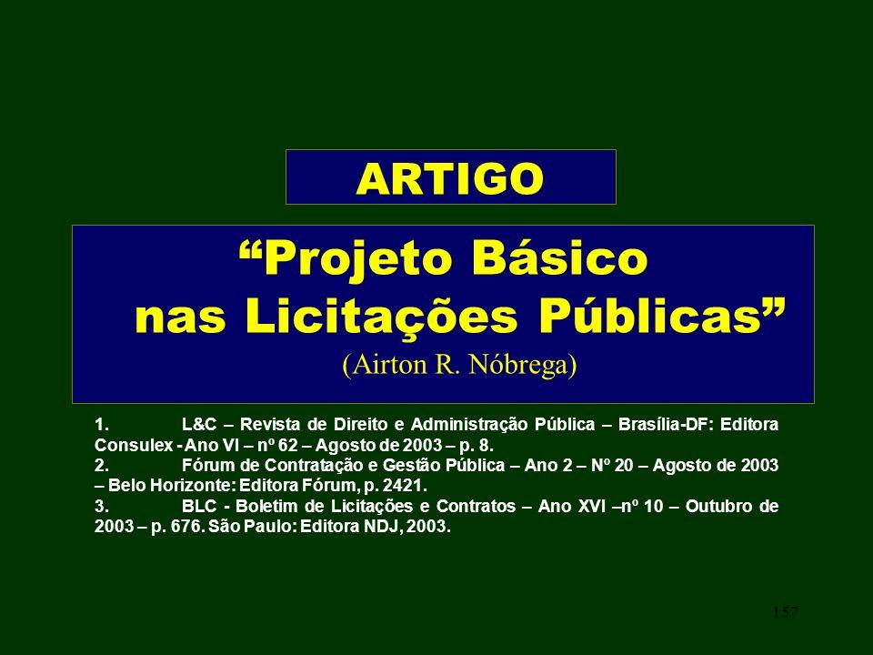 Projeto Básico nas Licitações Públicas (Airton R. Nóbrega)