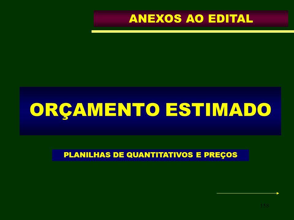 PLANILHAS DE QUANTITATIVOS E PREÇOS
